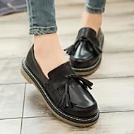 Feminino Sapatos Courino Outono Conforto Mocassins e Slip-Ons Salto Grosso Salto de bloco Ponta Redonda Com Mocassim Para Casual Preto