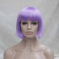 Damen Synthetische Perücken Kappenlos Glatt Lila Bubikopf Cosplay Perücke Kostüm Perücken