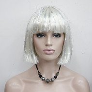 Mulher Perucas sintéticas Sem Touca Liso Branco Corte Bob Peruca para Cosplay Perucas para Fantasia