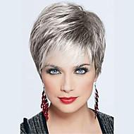 Mulher Perucas de cabelo capless do cabelo humano Preto jet Cinza Bege Loiro // Bleach Loiro Curto Liso Corte Pixie Corte em Camadas Com