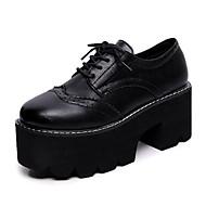 Ženske Cipele PU Proljeće Jesen Udobne cipele Vojničke čizme Oksfordice Ravna potpetica Okrugli Toe Elastika Za Crn Braon