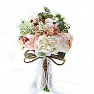 Bryllupsblomster Rund Roser Pæoner Buketter Bryllup Fest & Aften Polyester Sateng Taft Blonde Spandex Tørrede Blomster Rhinstein9.84