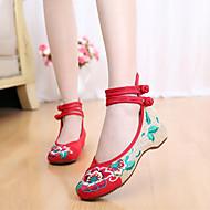 Feminino Rasos Conforto Alpargata Sapatos bordados Tecido Primavera Verão Outono Inverno Casual Presilha Flor RasteiroPreto Vermelho