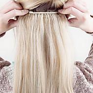 """16 """"-24""""인간의 머리카락 확장 120g에 두께 풀 한 조각 5 클립"""