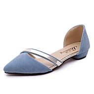 Feminino Sandálias Conforto Courino Verão Casual Conforto Rasteiro Preto Cinzento Claro Rosa claro Azul Claro Rasteiro