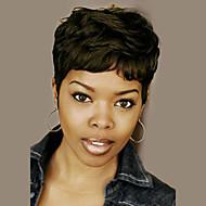 Mulher Perucas de cabelo capless do cabelo humano Preto Curto Ondulado Corte Pixie Corte em Camadas Com Franjas Peruca Afro Americanas