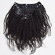 머리는 자연 검은 색 7 개 / 세트를 엮어 새로운 브라질 100 % 인간의 머리 클립 인은 변태 곱슬 클립 기능 확장을 아프리카