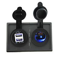 12V / 24V Zigarettenanzünder-Steckdose und 3.1a Dual USB-Anschluss mit Gehäusehalter Verkleidung für Autoboots LKW rv geführt