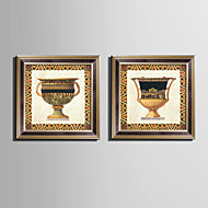 Natureza Morta Quadros Emoldurados Conjunto Emoldurado Arte de Parede,PVC Material Marrom Sem Cartolina de Passepartout com frame For