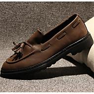 남성 보트 신발 컴포트 PU 겨울 캐쥬얼 컴포트 플랫 화이트 블랙 브라운 플랫