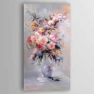 Hand-Painted  Impression Flower in Vase Canvas Oil Painting With Stretcher For Home Decoration Ready to Hang