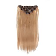 인간의 머리카락 확장 32g의 옹 브르 10 클립 18 인치의 10PCS 클립 스트레이트 헤어를 강조