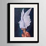 Abstract Mensen Ingelijst canvas Ingelijste set Muurkunst,PVC Materiaal Zwart Zonder passepartout Met frame For HuisdecoratieIngelijste