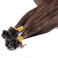 Włosy ludzkie dziewicze brazylijskie włosy paznokci u końcówka keratyna fuzje włosy przedłużacze proste wiązanie wstępne kolor # 4 1g /