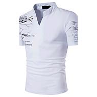 Erkek Orta Pamuklu Kısa Kollu Dik Yaka Yaz Desen Sade Boho Actif Spor Günlük/Sade Dışarı Çıkma-Erkek Tişört