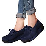 Dames Loafers & Slip-Ons Lente Herfst Comfortabel Suède Buiten Casual Sleehak Geel Fuchsia Blauw