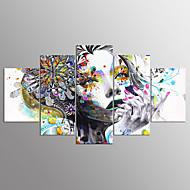 Pingoitetut kanvasprintit Abstraktit muotokuvat Moderni,5 paneeli Kanvas Mikä tahansa muoto Painettu Wall Decor For Kodinsisustus