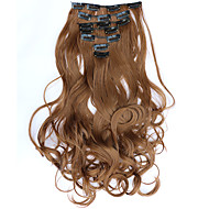 7pcs/Set 130g Golden Brown Wavy 50cm Hair Extension Clip In Synthetic Hair Extensions