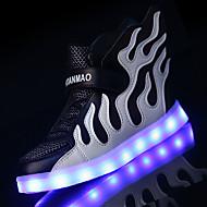 Para Meninos-Tênis-Conforto Solados com Luzes Light Up Shoes-Salto Baixo-Rosa claro Branco/Preto Preto/Verde Branco/azul Branco/Prata-Tule