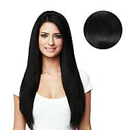 9pcs / set 디럭스 120g # 1 검은 머리 클립에 머리카락 확장 16inch 20inch 100 % 인간의 머리카락