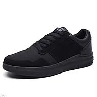 Heren Sneakers Lente Zomer Comfortabel Mary Hane Weefsel Buiten Casual Sport Hardlopen Platte hak Veters Zwart zwart/wit Zwart/Rood