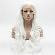 Naisten Synteettiset peruukit Lace Front Pitkä Runsaat laineet Valkoinen Luonnollinen hiusviiva Luonnollinen peruukki Halloween Peruukki