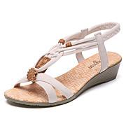 Dame Sandaler Komfort PU Sommer Avslappet Komfort Drapert Flat hæl Lav hæl Svart Beige 2,5 - 4,5 cm