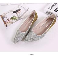 Dame Flate sko Lette såler Komfort PU Vår Avslappet Lette såler Komfort Gull Svart Sølv Flat