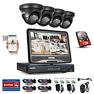 Sannce® 8ch 4pcs 720p защищенная от непогоды система безопасности 4in1 1080p lcd dvr поддерживаемая tvi аналоговая ahd ip camera 1tb hd
