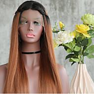 Naisten Synteettiset peruukit Lace Front Pitkä Suora Black / Medium Browm Liukuvärjätyt hiukset Tummat juuret Luonnollinen hiusviiva