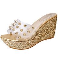 Feminino Chinelos e flip-flops Couro Ecológico Verão Caminhada Miçangas Anabela Dourado Prata 5 a 7 cm