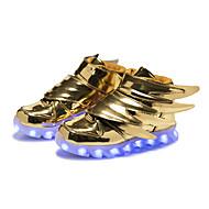 Para Meninos Tênis Tênis com LED Sintético Outono Inverno Casual Festas & Noite Tênis com LED Colchete LED Rasteiro Dourado Preto Rasteiro