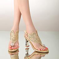 Feminino Sandálias Conforto Verão Outras Peles de Animais Casual Salto Grosso Dourado Preto 2,5 a 4,5 cm