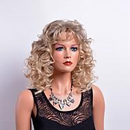 Damen Synthetische Perücken Kappenlos Mittel Lockig Blond Mit Pony Natürliche Perücke Kostüm Perücken