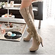 Feminino Sapatos Flanelado Inverno Conforto Botas de Neve Botas Com Para Casual Preto Bege