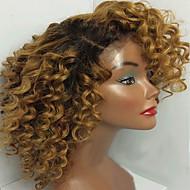 Mulher Perucas de Cabelo Natural Cabelo Humano Frente de Malha Renda Frontal sem Cola 130% Densidade Kinky Curly Peruca Preto / Medium