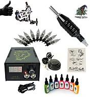 käynnistin tatuointi sarjat 1 x teräksinen tatuointikone viivoihin ja varjostukseen LCD virtalähde 5 x tatuointineuloja RL 3 Complete Kit