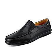 Masculino sapatos Pele Primavera Outono Conforto Mocassins e Slip-Ons Elástico Para Casual Preto Amarelo Castanho Escuro