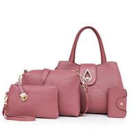 Női táska készlet pu all seasons véletlen vásárló cipzár lila elpirult rózsaszín piros kék