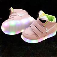 Para Meninas Tênis Tênis com LED Couro Courino Primavera Verão Outono Casual Caminhada Tênis com LED Velcro LED Salto BaixoBranco Preto