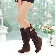 Feminino Sapatos Couro Ecológico Outono Conforto Botas Com Para Casual Preto Marron