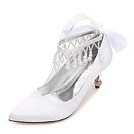 נשים נעלי חתונה בלרינה בייסיק נוחות סטן אביב קיץ חתונה מסיבה וערב שמלה ריינסטון פפיון פנינים דמוי פנינה פאייטים פרח קפלי בד מתנופפיםעקב