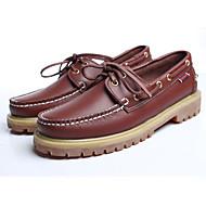 남성 보트 신발 컴포트 봄 가을 가죽 캐쥬얼 밝은 브라운 2.5cm 이하