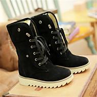 Naiset Kengät PU Talvi Comfort Bootsit Leveä korko Pyöreä kärkinen Kanssa Käyttötarkoitus Kausaliteetti Musta Keltainen Ruskea