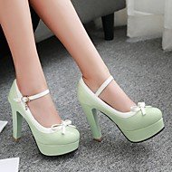 Women's Shoes PU Spring Fall Comfort Heels Chunky Heel Platform Round Toe With For Casual Black Green Blushing Pink