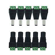 Hkv® 10 buc. 5 femele 5 conector dc mascul 2.1 * Conector cablu de conectare la mufa de alimentare de 5.5 mm pentru o singură culoare