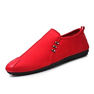 Miehet kengät Nappanahka PU Syksy Talvi Comfort Mokkasiinit Valopohjat Mokkasiinit Käyttötarkoitus Kausaliteetti Musta Harmaa Punainen