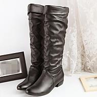 Naiset Kengät PU Syksy Talvi Comfort Bootsit Matala korko Pyöreä kärkinen Kanssa Käyttötarkoitus Kausaliteetti Valkoinen Musta