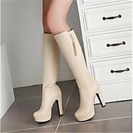 Naiset Kengät PU Syksy Comfort Bootsit Kanssa Käyttötarkoitus Kausaliteetti Valkoinen Musta Manteli