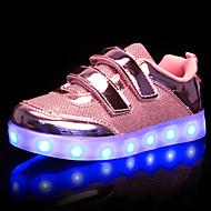 Para Meninas Tênis Tênis com LED Sintético Outono Inverno Casamento Casual LED Salto Baixo Dourado Prata Rosa claro Menos de 2,5cm